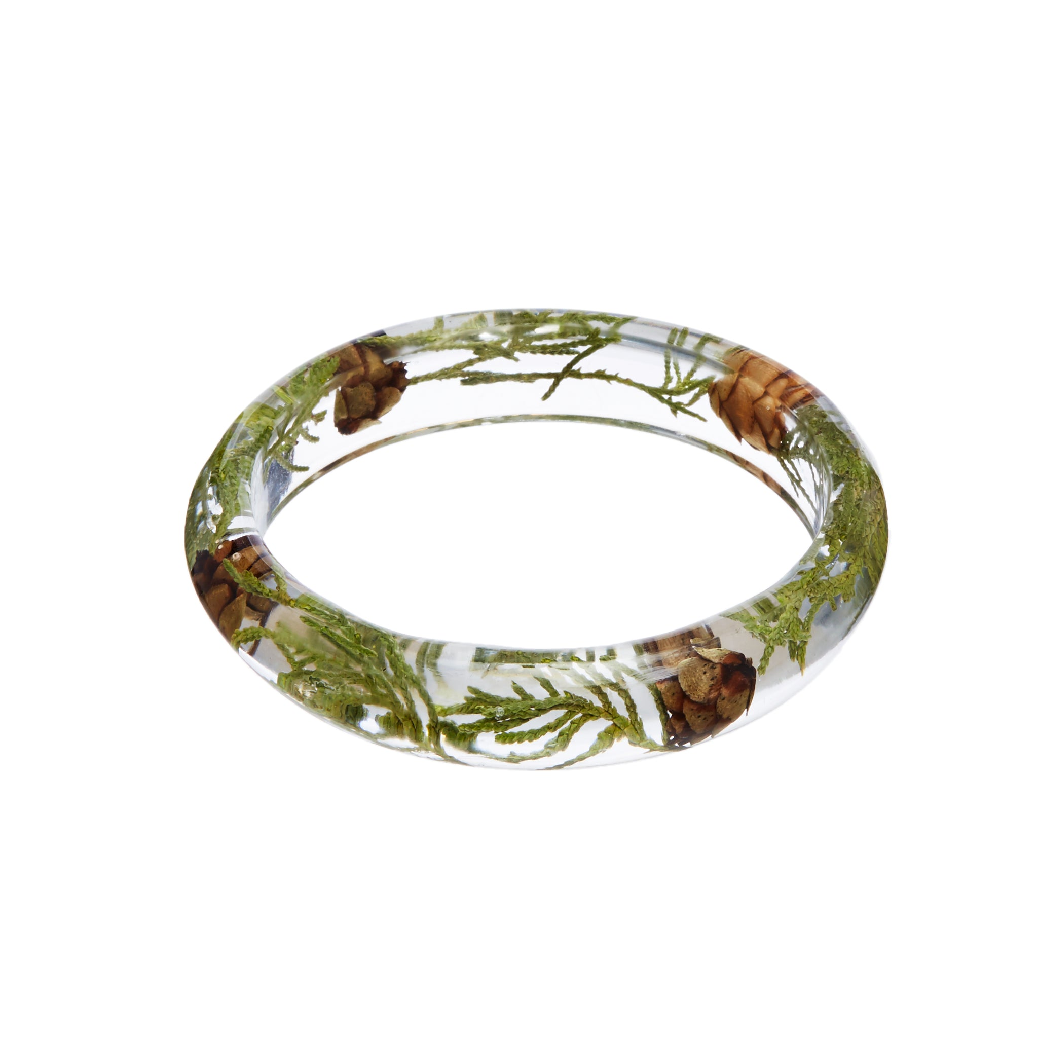 Woodland Resin Bangle, Botanical bangle bracelet, Pine cone and greens bracelet