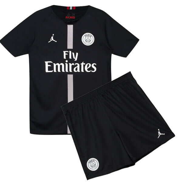info for 8f636 88e08 Kids PSG X Air Jordan Black Kit Jersey 2018-2019