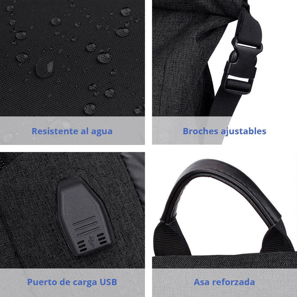 "Mochila Backpack Roll Top Antirrobo Impermeable para Laptop de 15"" y Tablet, Ideal para Campamentos - Ecart"