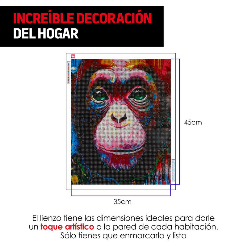 Diamond Painting Kit 5D, Set de Arte Incluye Lienzo, Pluma y Diamantes de Colores, Modelo Monkey - Redlemon México