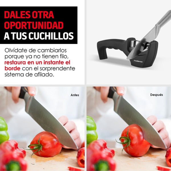 Semi-Professional Manual Knife Sharpener Three Stage, Ergonomic, Ideal for Smooth Knives - Ecart