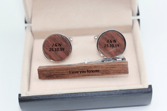 Angie Wood Creations Cufflinks Ebony wood ,engrave cufflinks,Wood cufflinks (CL036))