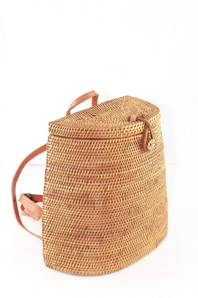 Angie Wood Creations Handmade Round Ata Bali High Quality Rattan Backpack bag