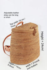 Angie Wood Creations Cork Bag/ Wood bag/Wallet Angie Wood Creations Handmade Round Ata Bali High Quality Rattan Backpack bag