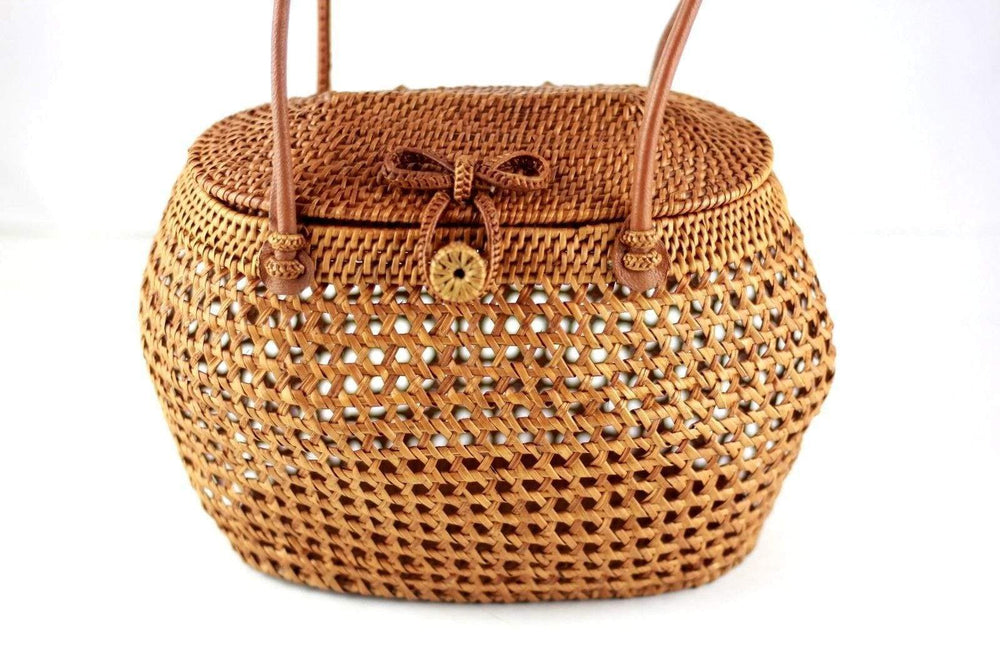 Angie Wood Creations Handmade Round Ata Bali High Quality Rattan Basket Mandul Round bag