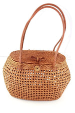 Angie Wood Creations Cork Bag/ Wood bag/Wallet Angie Wood Creations Handmade Round Ata Bali High Quality Rattan Basket Mandul Round bag