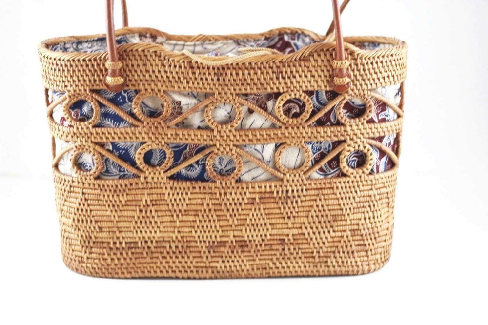 Angie Wood Creations Handmade Round Ata Bali High Quality Rattan Hand Bag Blue Lining