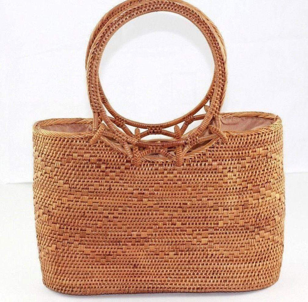 Angie Wood Creations Handmade Round Ata Bali High Quality Rattan Hand Bag Brown Lining