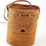Angie Wood Creations Handmade Round Ata Bali High Quality Rattan Hand Bag Bucket Kul Bag