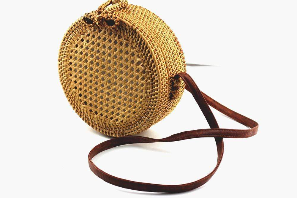 Angie Wood Creations Handmade Round Ata Bali High Quality Rattan Hand Bag Transparant style