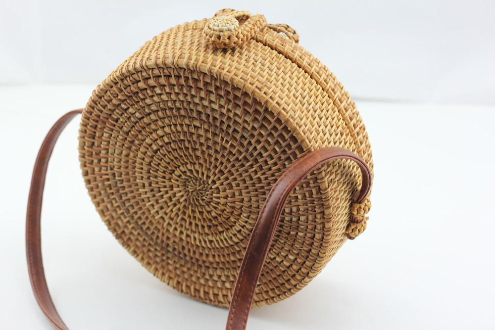 Angie Wood Creations Cork Bag/ Wood bag/Wallet Angie Wood Creations Handmade Round Ata Bali High Quality Rattan Hand Bag Transparant style
