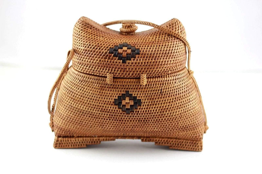 Angie Wood Creations Handmade Round Ata Bali High Quality Rattan Hand Bag Unique Kisoli style