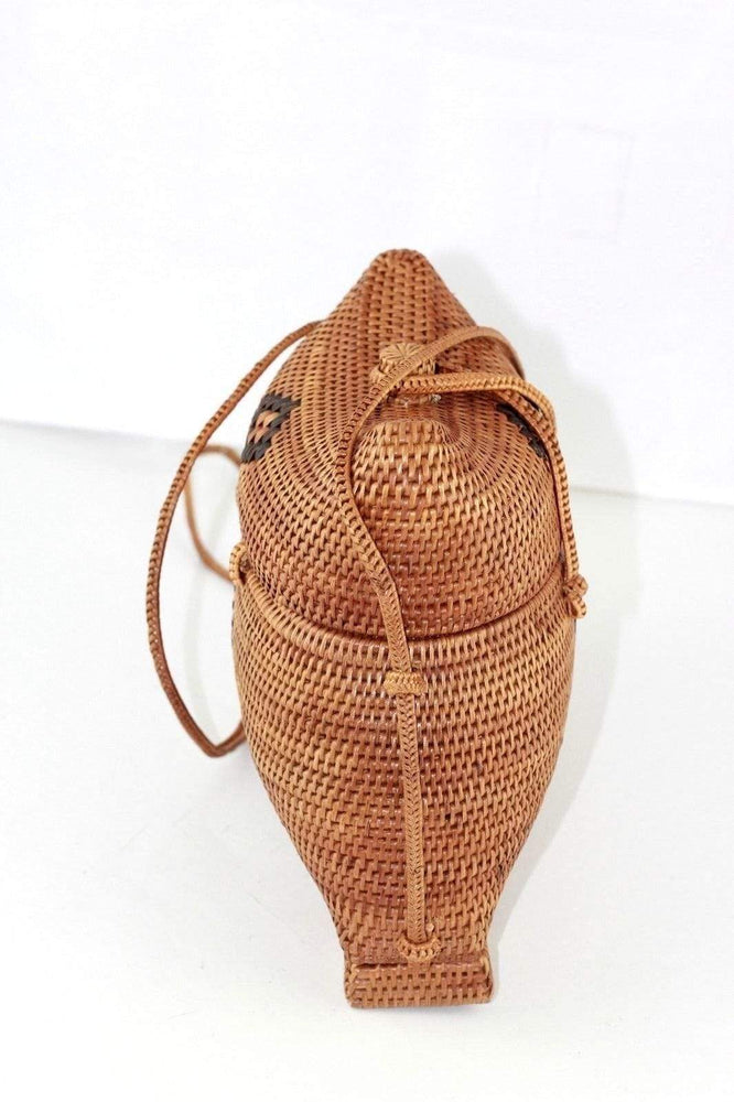 Angie Wood Creations Cork Bag/ Wood bag/Wallet Angie Wood Creations Handmade Round Ata Bali High Quality Rattan Hand Bag Unique Kisoli style