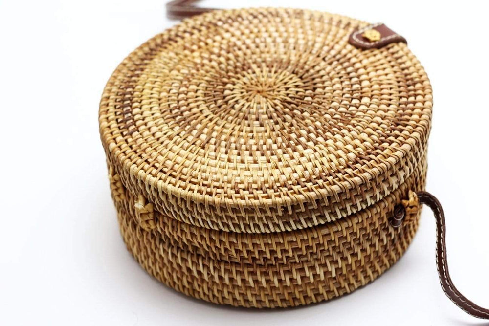 Angie Wood Creations Cork Bag/ Wood bag/Wallet Angie Wood Creations Handmade Round Ata Rattan Hand bag