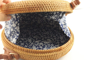 Angie Wood Creations Cork Bag/ Wood bag/Wallet Angie Wood Creations Handmade Round Ata Rattan Hand bag Japanese Style