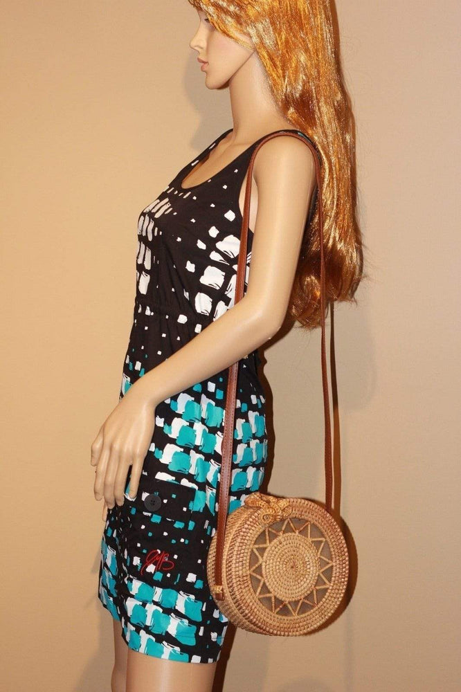 Angie Wood Creations Cork Bag/ Wood bag/Wallet Angie Wood Creations Handmade Round Ata Rattan Hand bag Star style