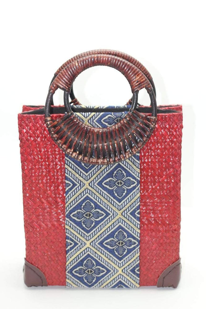 Angie Wood Creations Straw Bag Red Handmade Vintage model