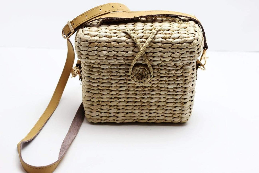 Angie Wood Creations Straw Bag Square