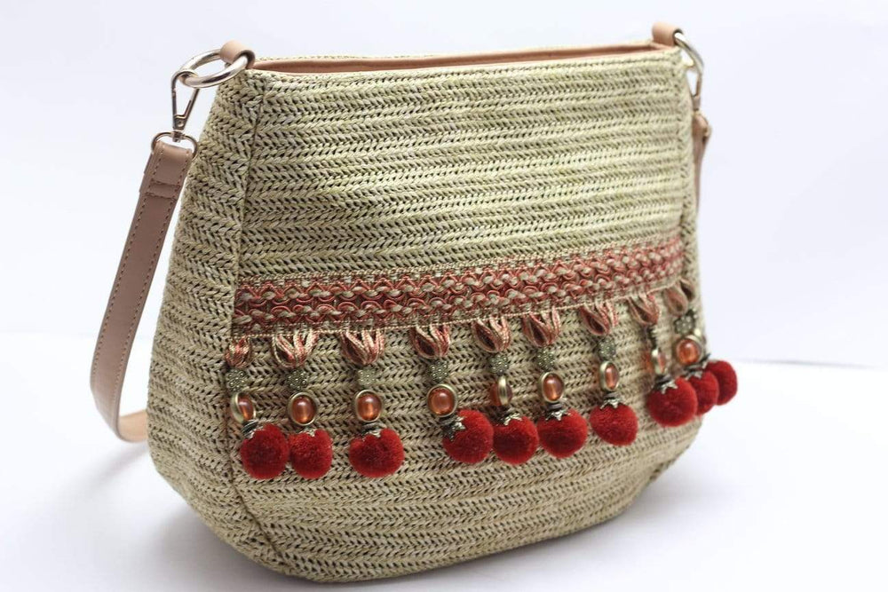 Angie Wood Creations Straw Bag Vintage with Red Ball