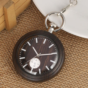 Angie Wood Creations Dark sandal wood / Not Engrave Angie Wood Creations Pocket watch, Groomsman gift, Engraved Pocket Watch.
