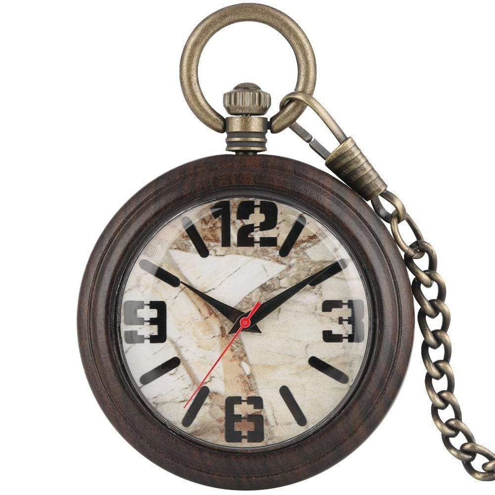 Angie Wood Creations Dark wood marble / Not Engrave Angie Wood Creations Pocket watch, Groomsman gift, Engraved Pocket Watch.