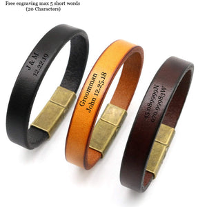 Angie Wood Creations Engraved Leather Bracelet, Personalized Leather Band, Custom Leather bands, Wood Bead bracelet,Wood Bracelet,Unisex Leather Band,Women band