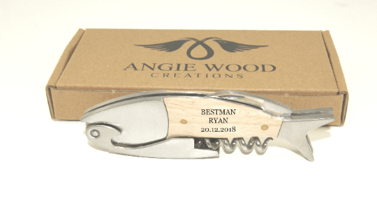 Angie Wood Creations Fish Engraved Groomsmen Corkscrew Opener - Personalized Wine Bottle Opener,Bottle opener,Customized bottle opener,Engraving gift,Groomsman gift