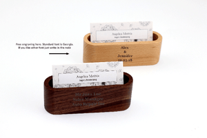 Angie Wood Creations Laser Engraved Wood Business Card Holder - Custom Personalized Wooden Business Card Case, Business card holder, Wood card holder, Wooden