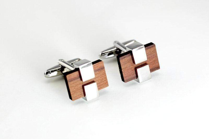 Angie Wood Creations Cufflink Rose Wood with stainless
