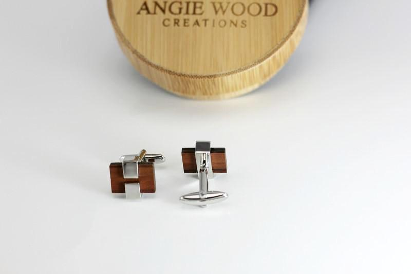 Angie Wood Creations wood cufflink Not engrave Angie Wood Creations Cufflink Rose Wood with stainless