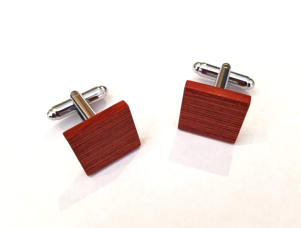 Angie Wood Creations Rose Wood Cufflink, Engraved Cufflink, Men Cufflinks (CL031)