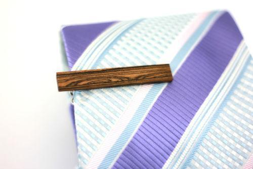 Angie Wood Creations Zebra Wood Men Tie Clip