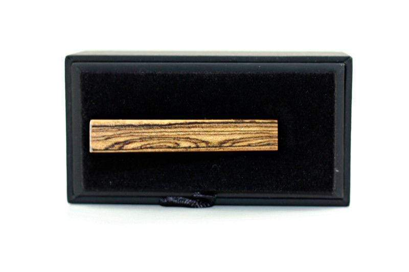 Angie Wood Creations Tie Clip Not engrave Angie Wood Creations Zebra Wood Men Tie Clip