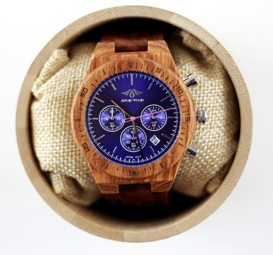 Angie Wood Creations Kosso Wood Men's Watch With Blue Dial,Blue Wood Watch (W151)