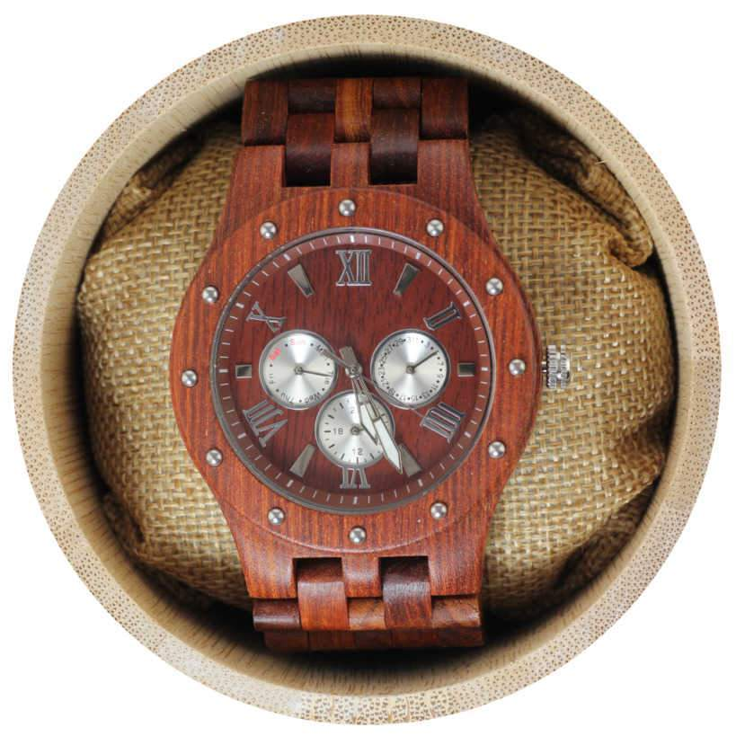 Angie Wood Creations Red Sandalwood Studded Men's Watch with Red Sandalwood Band