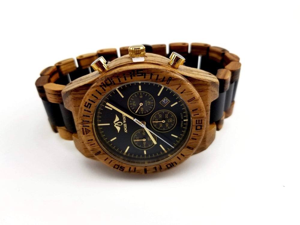 Angie Wood Creations men wood watches Not engraved Angie Wood Creations Zebra & Ebony Wood Men's Watch With Black Dial,Black Wood Watch (W151)