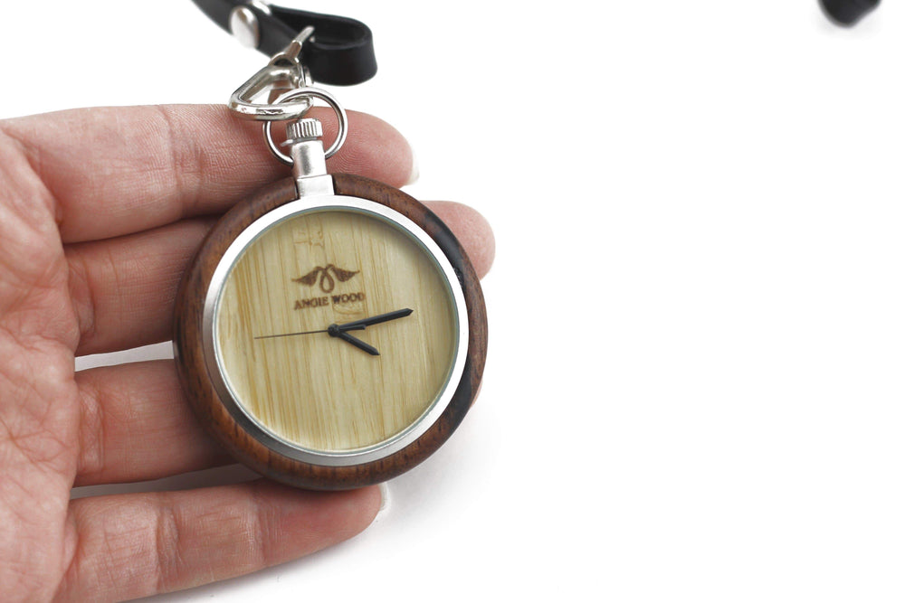 Custom Pocket Watch, Engraved Personalized Gift For Men,Wood Pocket Watch (P002)