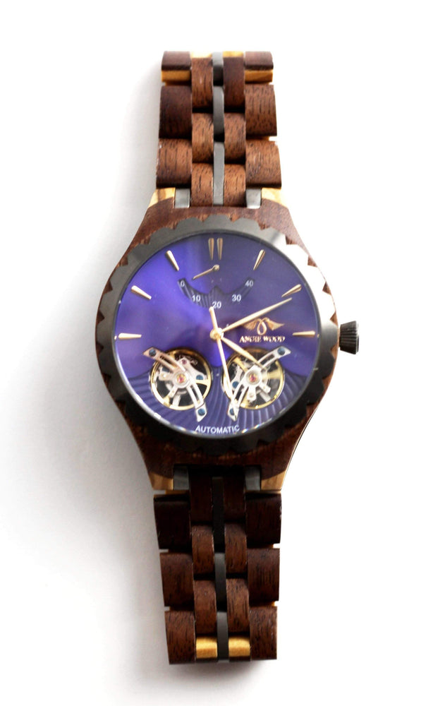 Angie Wood Creations men wood watches Not Engraving on Box Men Angie Wood Sapphire Glass Automatic Purpleheart & Maple Wood Watch