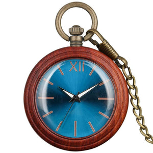 Angie Wood Creations Red wood blue / Not Engrave Angie Wood Creations Pocket watch, Groomsman gift, Engraved Pocket Watch.