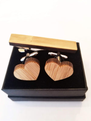 Angie Wood Creations wood cufflink Set Heart cufflink + Rectangle tie clip Angie Wood Creations Cufflinks Maple wood ,engrave cufflinks,Wood cufflinks (cl27-30)