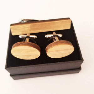 Angie Wood Creations wood cufflink Set oval cufflink + Rectangle Tie clip Angie Wood Creations Cufflinks Maple wood ,engrave cufflinks,Wood cufflinks (cl27-30)