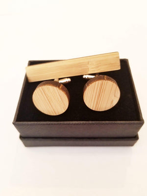 Angie Wood Creations wood cufflink Set Round cufflink + Rectangle Tieclip Angie Wood Creations Cufflinks Maple wood ,engrave cufflinks,Wood cufflinks (cl27-30)