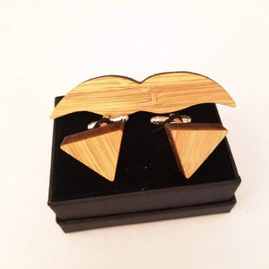 Angie Wood Creations wood cufflink Set Triangle cufflink + Moustache tie clip Angie Wood Creations Cufflinks Maple wood ,engrave cufflinks,Wood cufflinks (cl27-30)