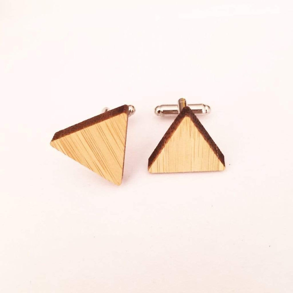 Angie Wood Creations wood cufflink Triangle cufflink Angie Wood Creations Cufflinks Maple wood ,engrave cufflinks,Wood cufflinks (cl27-30)