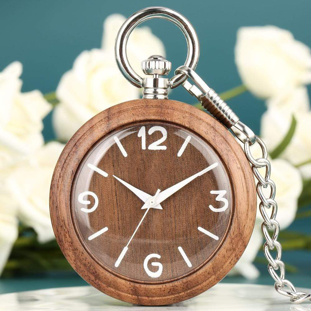 Angie Wood Creations walnut wood number dial / Not Engrave Angie Wood Creations Pocket watch, Groomsman gift, Engraved Pocket Watch.