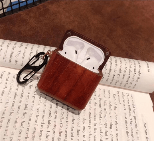 Angie Wood Creations Wood Airpods 2 Case, Custom Airpod Case With Metal Hook Keychain, Apple Airpods Pro Case, Airpod Holder, AirPod Sticker, Christmas Gifts