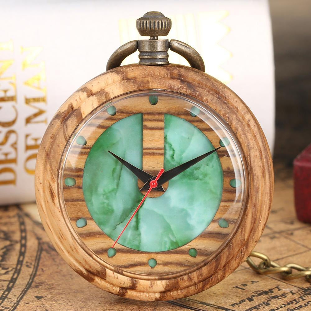Angie Wood Creations Zebra wood green / Not Engrave Angie Wood Creations Pocket watch, Groomsman gift, Engraved Pocket Watch.