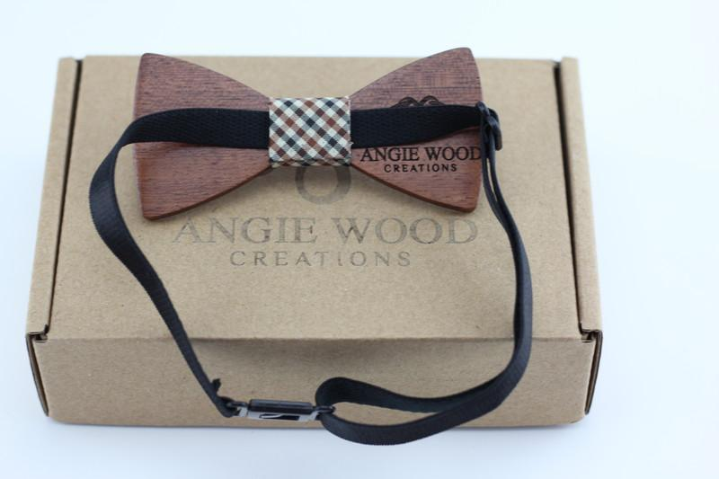 Angiewoodcreations kids wooden bowtie 3 ( blue vertical stripe ) KIDS Bow Tie 100% Natural Eco-friendly handmade Wooden
