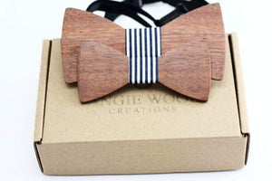 Angiewoodcreations Wooden bow tie 10 ( black and white stripe) 100% Natural Eco-friendly FAMILY & KIDS handmade Wooden Bow Tie