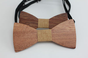 Angiewoodcreations Wooden bow tie 11 (beige Cotton) 100% Natural Eco-friendly FAMILY & KIDS handmade Wooden Bow Tie